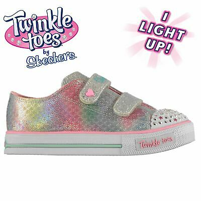 Kids Girls Skechers Twinkle Toes Mermaid Trainers Infant Canvas Low Hook and New