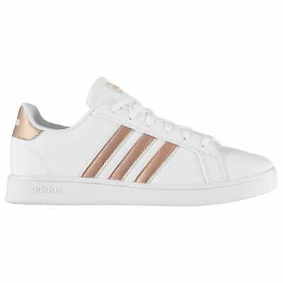 Kids Girls adidas Grand Court K Junior Trainers Low Lace Up Stripe New