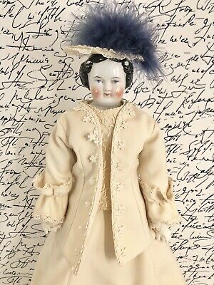 "Antique German 21"" High Brow Flat Top China Head Doll"