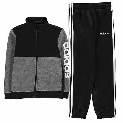 Kids Boys adidas Linear Logo Poly Tracksuit Junior Long Sleeve New