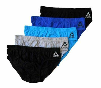 Reebok Mens Essential Comfort Low Rise Briefs Royal/Turquoise- 5 Pack SMALL