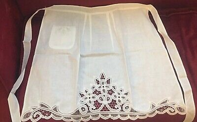 BATTENBURG LACE  White Cotton Half Apron with Pocket NIP Handmade