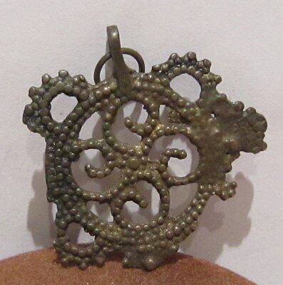 AMAZING ANTIQUE 18-19th.c. BRONZE OPENWORK PENDANT # 59B