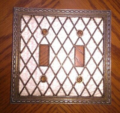 Vintage Metal Double Light Switch Plate Pearl Lattice '76 American Tack 28TT