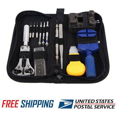 13 Pcs Battery Change Watch Repair Tool Band Pin Remover Back Case Opener Kit US