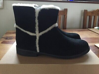 UGG Girls Black Coletta Leather Suede Casual Boots UK Size 3 EU 36