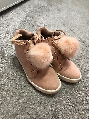 River Island Girls Pink Suede Effect Pom Pom Trim High Top Trainers/Boots-Uk 9
