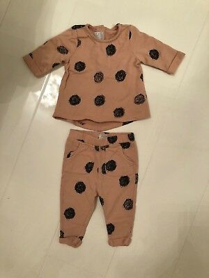 Mamas And Papas Pink & Black Spot Jumper & Trousers Set / Tracksuit - 3-6 Months