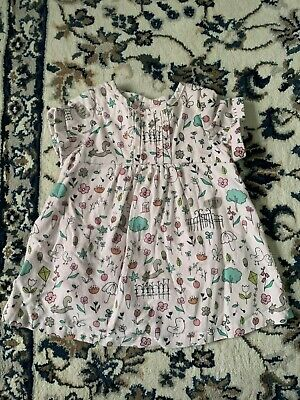 M&S Girls Pink Corduroy Woodland Animal Design Short Sleeve Dress - Age 0-3 Mths