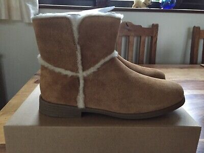 UGG Girls Brown Tan Coletta Leather Suede Casual Boots UK Size 3 EU 36