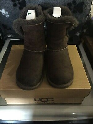 UGG Girls Brown Leather Suede Bailey Button Boots Kids UK Size 1