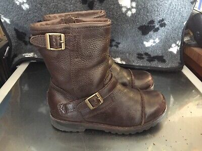 UGG Girls Brown Leather Boots Kids UK Size 1