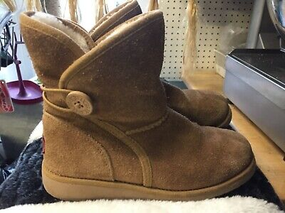 UGG Girls Chestnut Tan Brown Bailey Button Boots Infant Kids UK Size 13