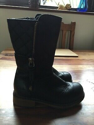 Clarks Girls Black Leather Boots Kelpie Heidi Kids Infant UK Size 7.5 G