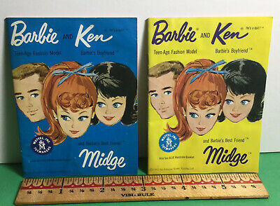 Vintage 1962 Barbie Ken and Midge Yellow and White Fashion Booklets Catalogs x 2