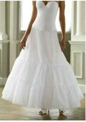 Davids Bridal ~2 Tier White Slip ~A-Line Size 8 Petticoat Style 603~High Waisted