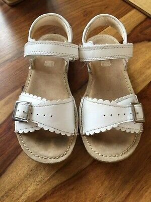 Clarks Girls White Leather Sandals Kids UK Size 13 F