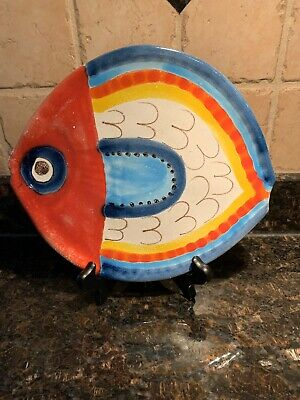 Giovanni Desimone Italy Fish Plate Dish Art Pottery Hand Painted Signed MCM 9""