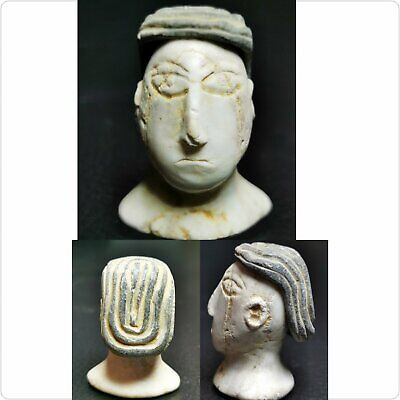 Ancient Rare Old King Face head Composite stone cap head statue  # 95