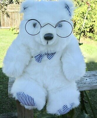White Plush Teddy Bear with Glasses Red Heart Tag VALENTINES Reinhart Collection