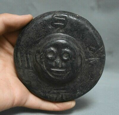 "4"" Old China HongShan culture jade (black magnet) carved Beast Face UFO Statue"