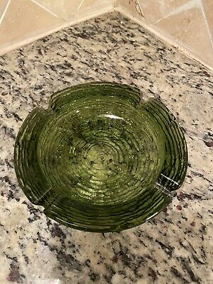 Vintage Anchor Hocking Avocado Green Glass Ashtray BARK textured Small