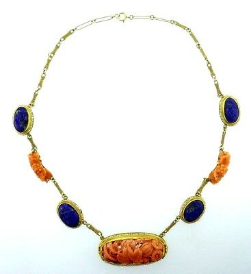 Antique 14k Yellow Gold Carved Lapis Coral Pearl Necklace