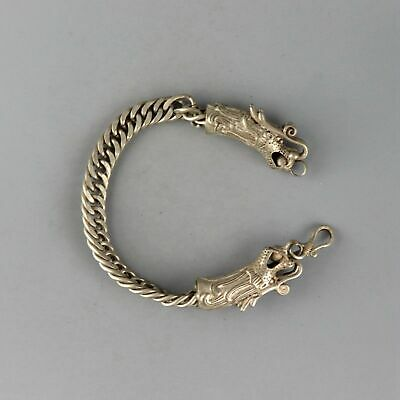 Collect Old Miao Silver Hand-Carved Double Dragon Head Bring Luck Decor Bracelet
