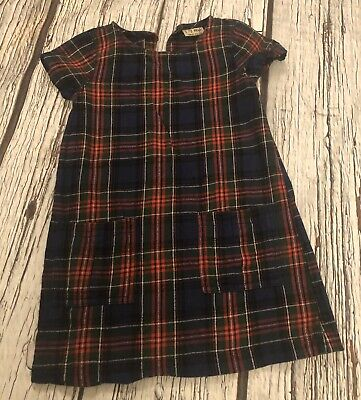 Age 5 Girls Next Tartan Dress Navy Red Green Hardly Worn 4-5