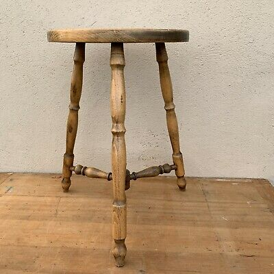 Vintage French Oak Farmhouse Milking Stool Turned Top & Legs Lamp Stand Display