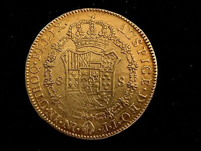 """Spain Gold Eight Escudo """"Doubloon"""" Spain & colonies  1789  Proclamation Coin"""