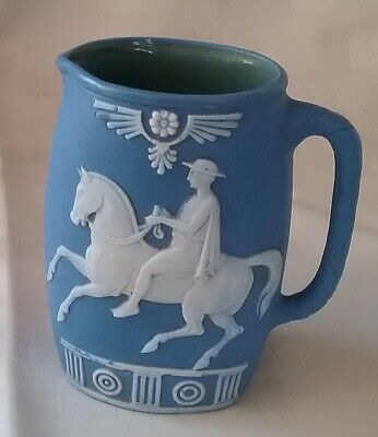 """VINTAGE Blue Small jug with raised pattern Horse flowers 4.25"""" tall PLEASE READ"""