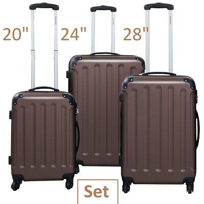 Luggage Set 3 Piece Spinner Luggage Hardside With Lock Trolley Set Brown Unisex