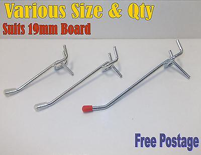 2 Inch To 6 Inch Pegboard Hooks To Suit 19mm Pegboard Display Shop Board