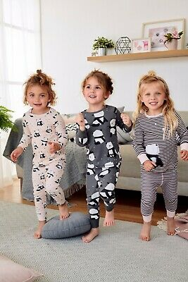 BNWT Next Girls 7-8 Years Pink/Grey 3 Pack Panda Snuggle Fit Pyjamas