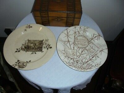 2 Antique Aesthetic Movement Plates -Period Styles .