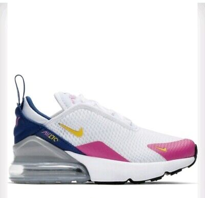 New Girls Nike Air Max 270 PS White Black Pink Blue Yellow Trainers Size UK 13.5
