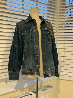 Zara Oversized sequin embellished denim jacket  Size XS/S BNWT 🛍🛍