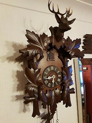 LOVELY 8 day  BLACK FOREST CUCKOO CLOCK /Fully  serviced  !! Brand new bellows