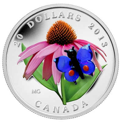 Fine Silver Coin - Purple Coneflower with Eastern Tailed Blue Butterfly 2013