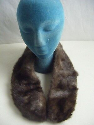 "Vtg Dark Brown Marten MInk Collar w/Loop & Clasp- 31.5"" Long(F4)"