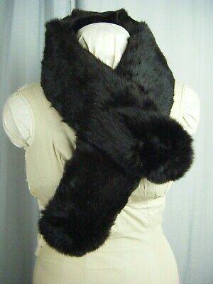"Vintage Dark Brown Rabbit Fur Collar Wrap w/Velvet Loops Lined- 39.5"" Long"