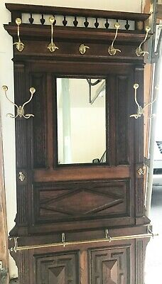 Antique Vintage Hall Tree with Mirror Entrance Furniture Brass hooks