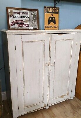 Vintage Antique Rustic painted pine Cupboard Shelves - Shabby Old Wooden