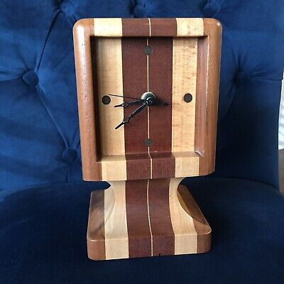 VINTAGE ART DECO WOOD DESK SHELF TABLE CLOCK Atomic MCM Made in USA Quartz Mod