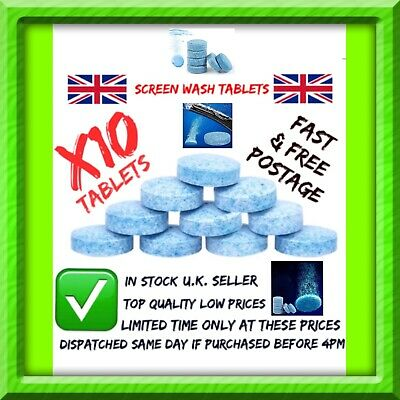 CAR SCREEN WASH TABLETS X10 🚘 WINDSCREEN FLUID TABLETS Eco-friendly✅ EASY USE✅