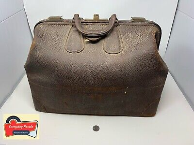 Genuine Leather & Brass Antique Doctor Bag Vintage Medical Satchel Locks Work
