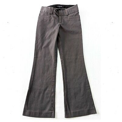 BANANA REPUBLIC Outlet BootCut Pants Womens Size 2 Flat Front Gray Twill Stretch