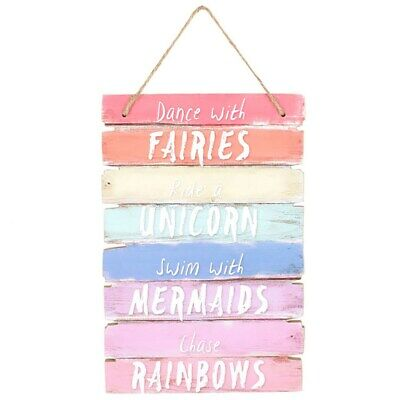 Dance With Fairies Swim With Mermaids Unicorn Wall Bedroom Quote Plaque Sign