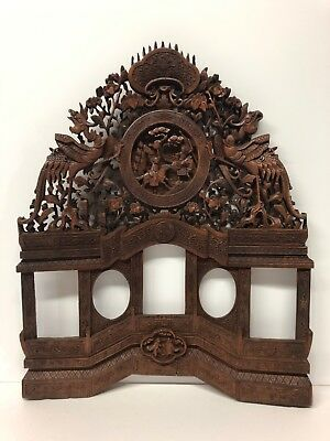 Antique Wooden Picture Frame Chinese Indonesia Bali Detail Dragons Battle